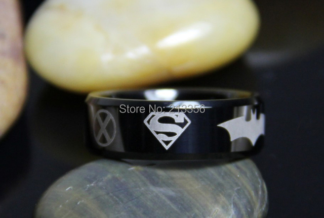 FREE SHIPPING CHEAP PRICE BRAZIL RUSSIA CANADA UK HOT SALES 8MM Black Beveled Justice League SuperHero TUNGSTEN WEDDING RING