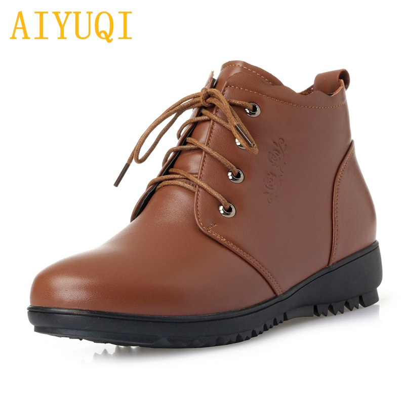 AIYUQI Women boots warm wool female snow boots 2018 new genuine leather women flat boots, big size 41 42 43 women booties mother aiyuqi 2018 new women s genuine leather shoes casual flat bottom breathable wear comfortable mother shoes female size 41 42 43