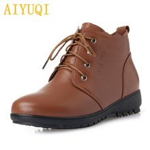 AIYUQI Women boots warm wool female snow 2019 new genuine leather women flat boots, big size 41 42 43 booties mother