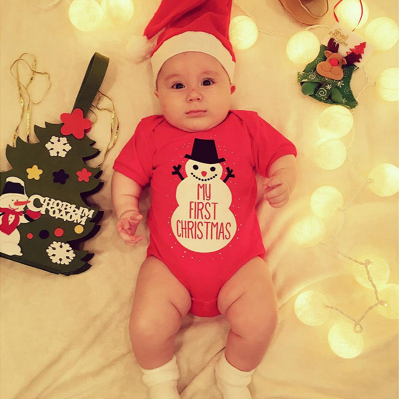 2018 New Christmas Baby Clothing Snowman Print Short Sleeve Baby Romper+Santa Claus Hat 2PCS Christmas Baby Boy Girl Clothes DS9