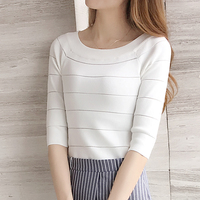 2018 summer new Korean short paragraph T shirt female short sleeved Slim was thin umbilical shirt solid color ice silk sweater