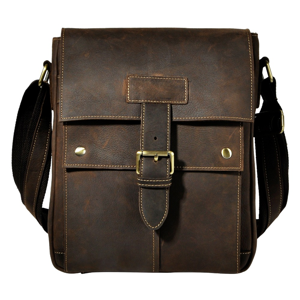 Fashion Real Leather Male Casual Messenger bag Satchel Cowhide Design Crossbody One Shoulder bag School Book