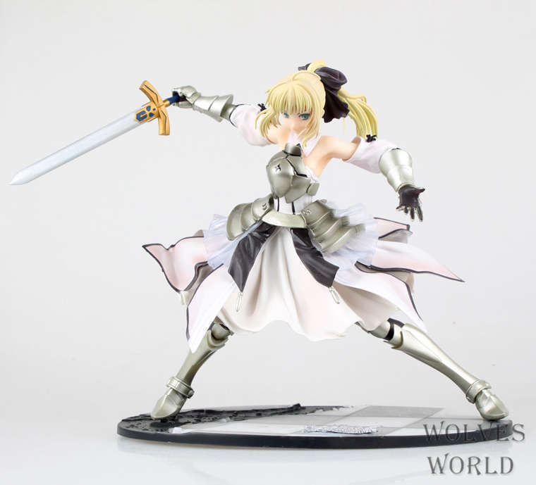 Huong Anime Fate Stay Night Fate 24CM Saber Lili Battle ver. PVC Action Figure Collectible Toy Model Briquedos Christmas Gift anime fate stay night saber triumphant excalibur 1 7 painted pvc figure collection model jids toys gift collectible toy