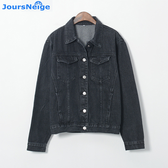JoursNeige Denim Jacket Women Fashion Vintage Long Sleeve Black Jean Coat Ladies  Girl Denim Jackets Woman Coat Femininas e3fd6fcb2c