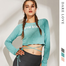 women yoga shirts bandage long sleeve sport crop top sweatshirts running jogging leisure fitness workout sports wear