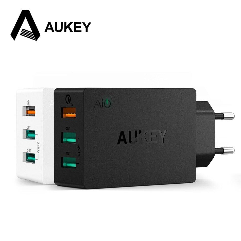 imágenes para AUKEY Cargador de Pared de 3 Puertos USB 2.0 de Carga Rápida Inteligente Rápido Turbo Móvil Cargador de LA UE/EE.UU. plug Para Samsung Galaxy s6 Edge Xiaomi