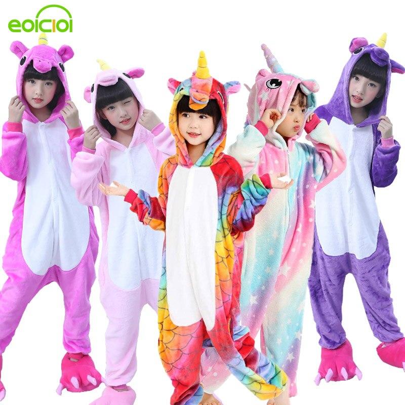 Flanell winter Pegasus weihnachten pyjamas rosa einhorn pyjamas für mädchen cartoon tiere Mit Kapuze nachtwäsche onesie Junge pyjamas kinder