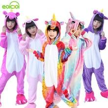 Купить с кэшбэком Flannel winter Pegasus christmas pajamas pink unicorn pajamas for girls cartoon animals Hooded sleepwear onesie Boy pyjamas kids