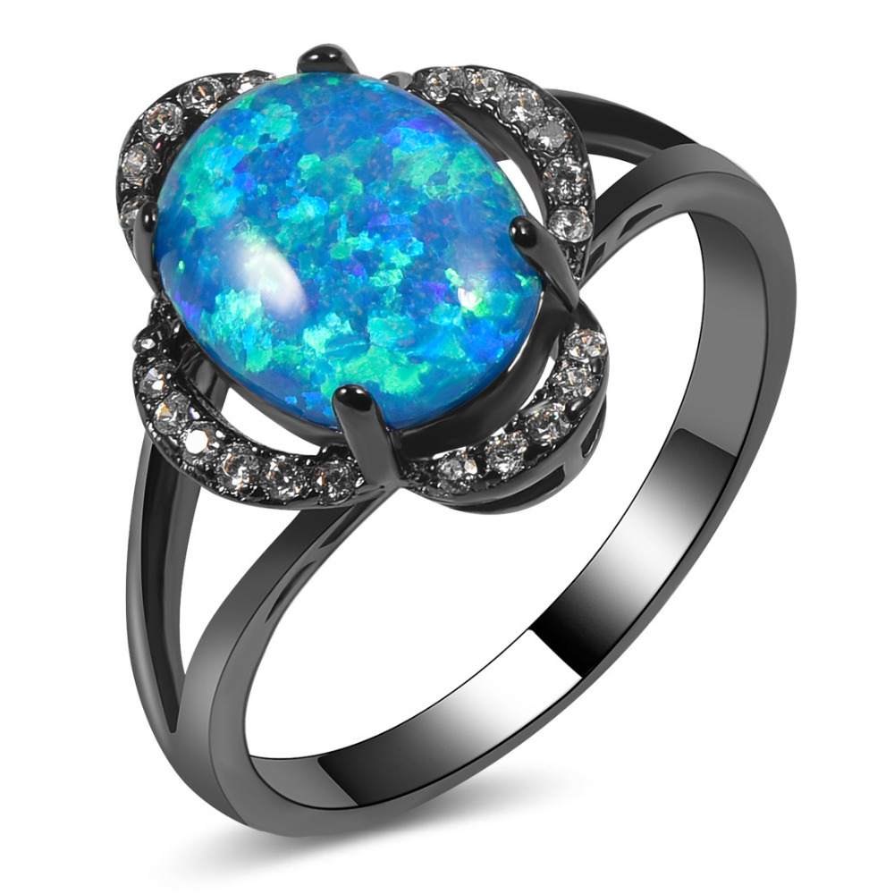 Engagement Rings On Sale Newcastle: Hot Sale Exquisite Blue Fire Opal 14KT Black Gold Filled
