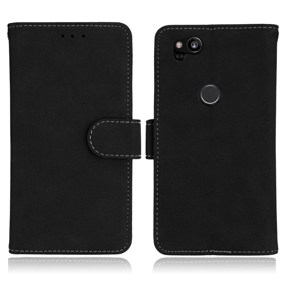 Case For Google Pixel 2 Cover Matte Vintage Plain Flip Phone Bag For Google Pixel 2 Cases Wallet Stand Hold 4.97 Inch For Pixel2