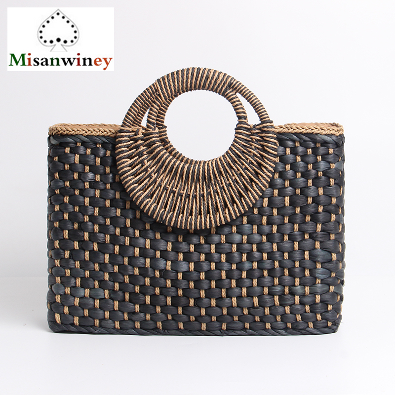 Bohemian Style Beach Bag Holiday Creative Weave Bamboo Handle Tote Women Big Shoulder Bag Rattan Straw Handbag Travel Basket Bag wegogo women handbag new thailand straw bag ladies travel holiday summer beach bohemian boho weaving woven straw tote bag