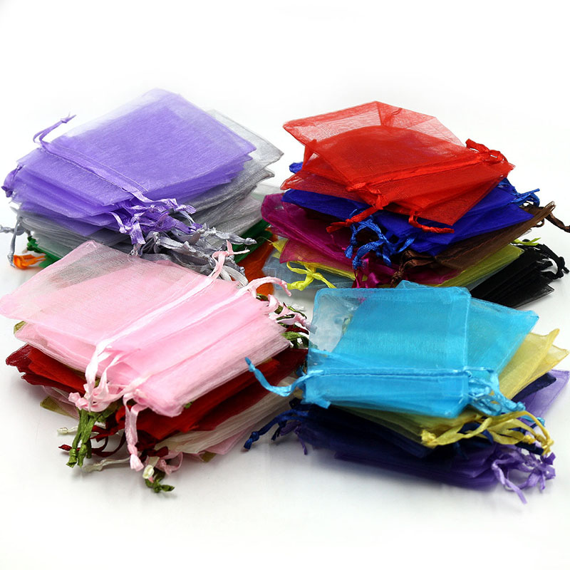 Image 2 - 50Pcs Gift Organza Bag Jewelry Packaging Candy Wedding Party Goodie Packing Favors Cake Pouches Drawable Bags Present For Sweets-in Gift Bags & Wrapping Supplies from Home & Garden