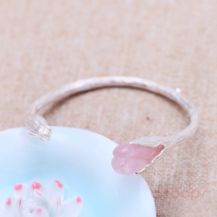 Handmade Plain Solid 990 Sterling Silver Rose Crystal Gardenia Flower Open Bangle for Women Girls Free Shipping in Bangles from Jewelry Accessories