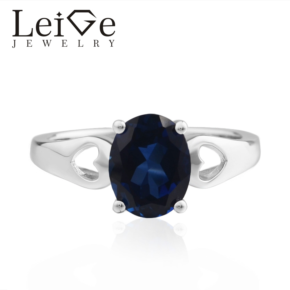 LeiGe Jewelry Lab Sapphire Ring Oval Cut Gemstone 925 Sterling Silver September Birthstone Ring leige jewelry oval cut lab blue sapphire promise ring 925 sterling silver ring gemstone september birthstone halo ring for her