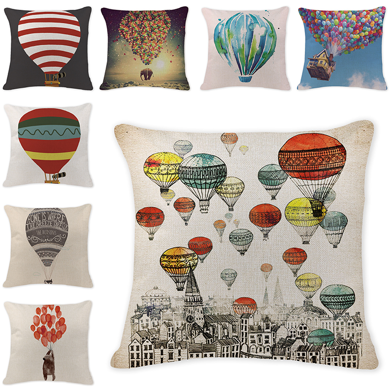 European Coffee Pilowcase Colorful Cushion Cover Custom Linen Promotion Hot Air Balloon Pillow Home Decoration Pillow Covers Table & Sofa Linens