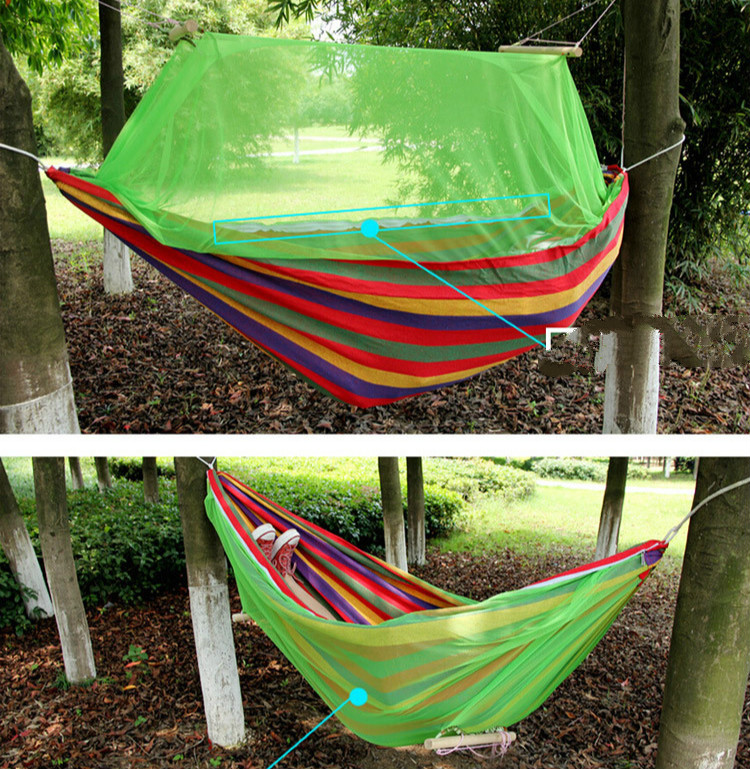 Outdoor Camping Hammock Double Color Thick Canvas Swing Single Hammock Hamaca Colgante with Mosquito Net Rainbow Hangmat