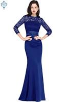 Ameision Robe de Soiree Lace Mermaid Long Evening Dress Elegant noble O neck Three Quarter Sleeve Evening Gown Longo