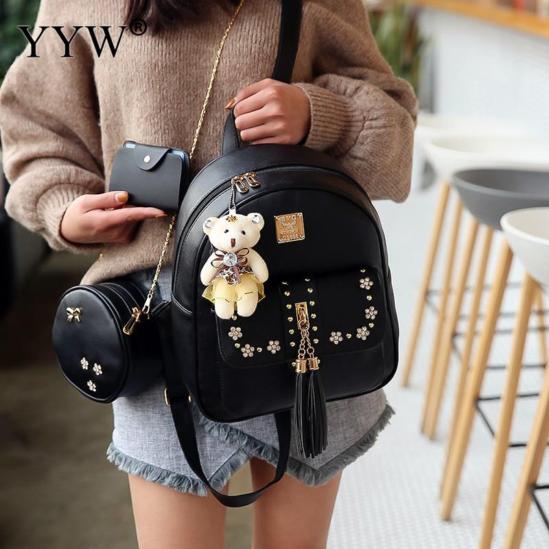 3 Pcs/set Doll Pendant Backpacks Set for Women and Adolescent Girls PU Leather Crossbody Bag 2018 New School Bag Female Purse