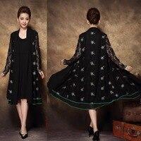 2017 China estilo de Moda vestido idade média Das Mulheres elegante twinset feminina outono rendas bordado vestido de festa vestido Plus size XXXXL