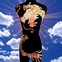 50*120cm large golden dragon paillette embroidery on mesh cloth applique raw material for classic or performing clothes making