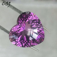 CSJ Real Natural Amethyst Loose Gemstone Heart Brilliant Concave Cut For Diy Fine Jewelry 925 Silver Gold Mounting Ring