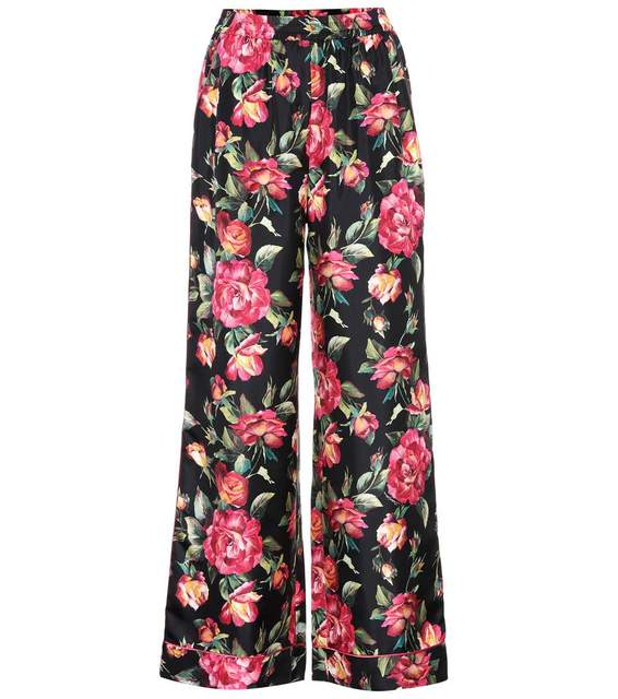 7c3d3230e6 Customized Autumn 2017 Fall New Casual Rose Floral Printed Pajama Pants  Women s Elegant Elastic Waist Wide Leg Pants Plus Size