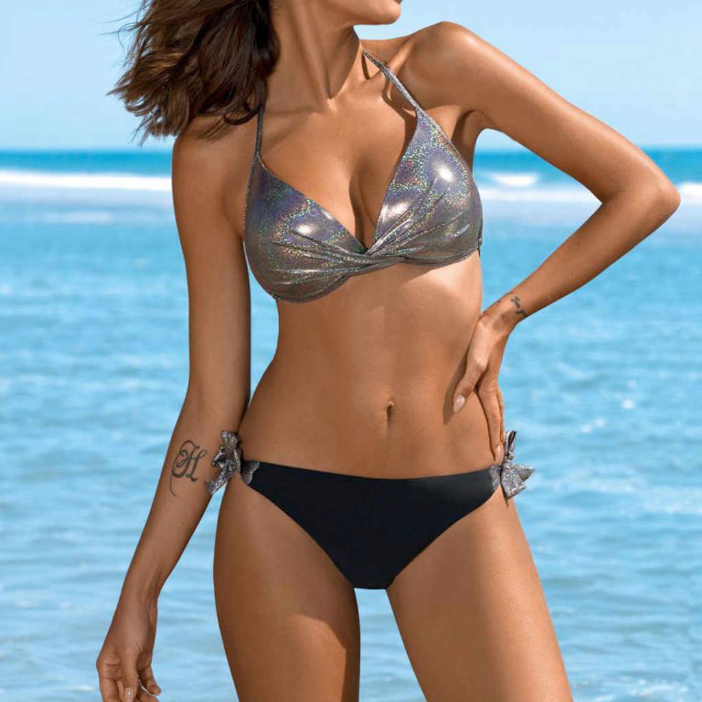 2019 Emas Perak Solid Baru Wanita Berpayet Patchwork Pakaian Renang Pantai Push Up Bikini Set Brasil Swimsuit Fashion Pinggang Rendah