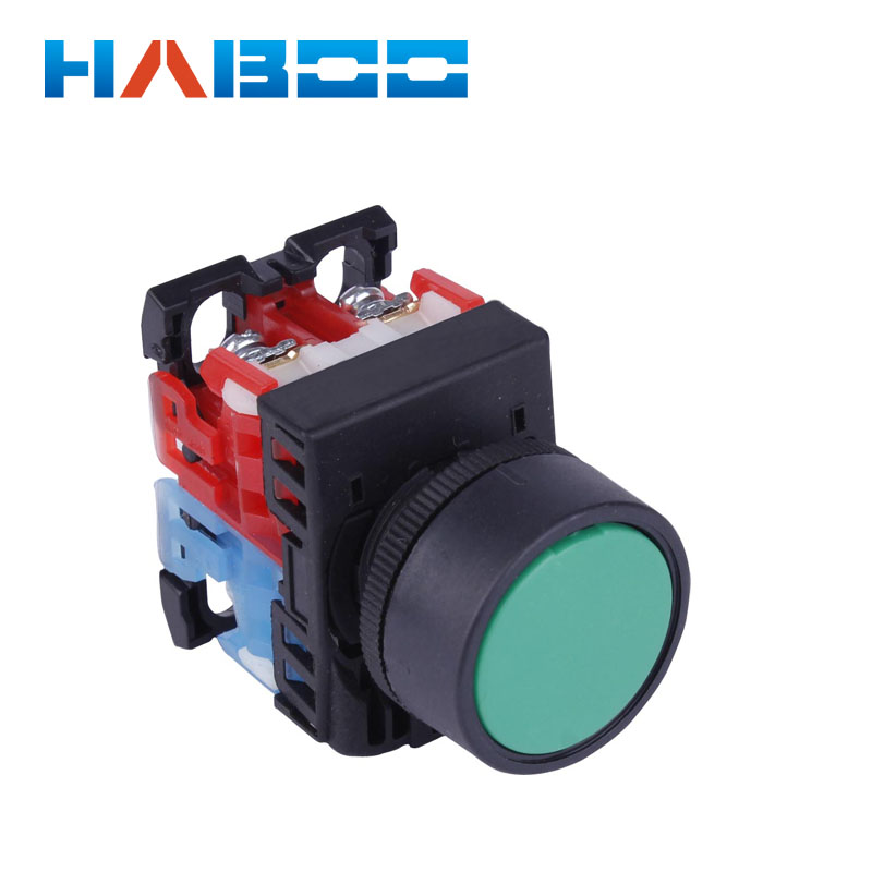 22mm Momentary Blue Flat Head Push Button Switch 6-380V 1NO 1NC Switches