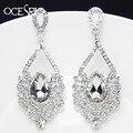 Luxury Silver Earrings for Women Crystal Tear Drop Chandelier Earrings Drops Big Statement Earings Jewelry dresses ers-g51