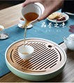 LISM Haushalt keramik bambus tee tablett Chinese Kung Fu tee set zubehör tee tablett runde einfache mini wasser lagerung tee tablett Teebretter    -