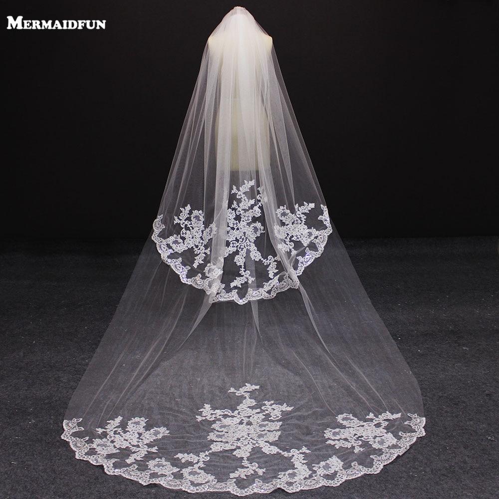 2019 Elegant 2.5 Meters 2 Layers Wedding Veil 2 T 2.5 M Beautiful Bridal Veil Voile Mariage-in Bridal Veils from Weddings & Events    1