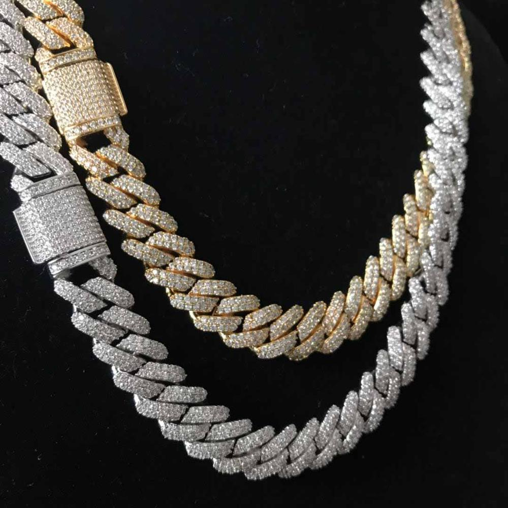 Iced out bling bling prong cuban link chain