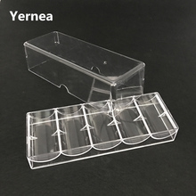 Yernea High-quality Texas  Poker Chips 100Pcs Box Transparent Acrylic Portable Game Chip Baccarat Tray