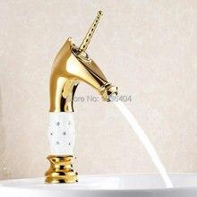 Голова лошади твердой латуни с белой керамики и бриллиантами тела ванной смесители позолоченный роскошные раковина кран G1076