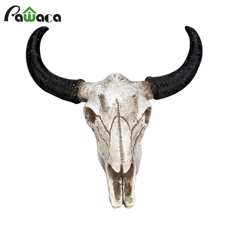 Résine Longhorn vache tête de crâne tenture murale décor 3D Animal faune Sculpture Figurines artisanat cornes pour la maison Halloween décor