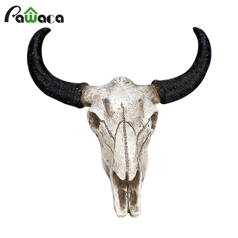 animal:  Resin Longhorn Cow Skull Head Wall Hanging Decor 3D Animal Wildlife Sculpture Figurines Crafts Horns for Home Halloween Decor - Martin's & Co