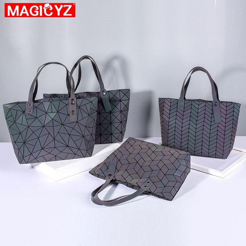 Image 3 - Women's large capacity holographic laser handbag irregular geometric luminous girl shoulder bag laptop office big bag-in Top-Handle Bags from Luggage & Bags
