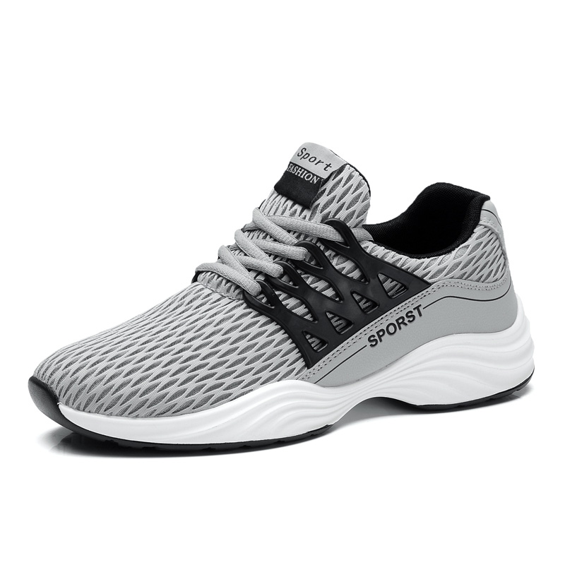 Mens sneakers outdoor running shoes breathable mesh lace-up men sport shoes black white footwear size 39-44 1703s