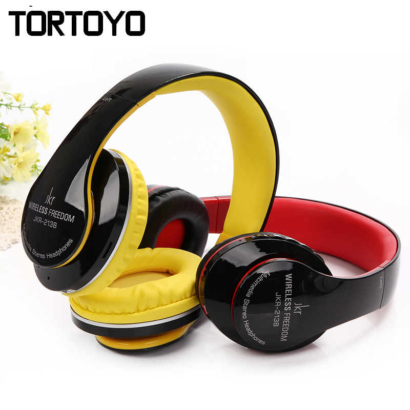 JKR-213B High Quality Foldable Stereo Sports Wireless Bluetooth Headset Headphone with Mic FM Radio TF Card for Smart Phone PC high quality csr8635 chipset stereo headphone with mic speaker headset foldable bluetooth 4 1 headphones