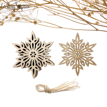 Christmas Wooden Snowflake Bell Elk Pendant Decoration Hanging Ornament Embellishments With String Unfinished Wood Disc 10pcs