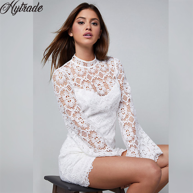 0dc203ab6df Summer Women Outfit Graduation Event Cocktail Party Shift Dresses Flared  Full Sleeves Open Back White Bandage