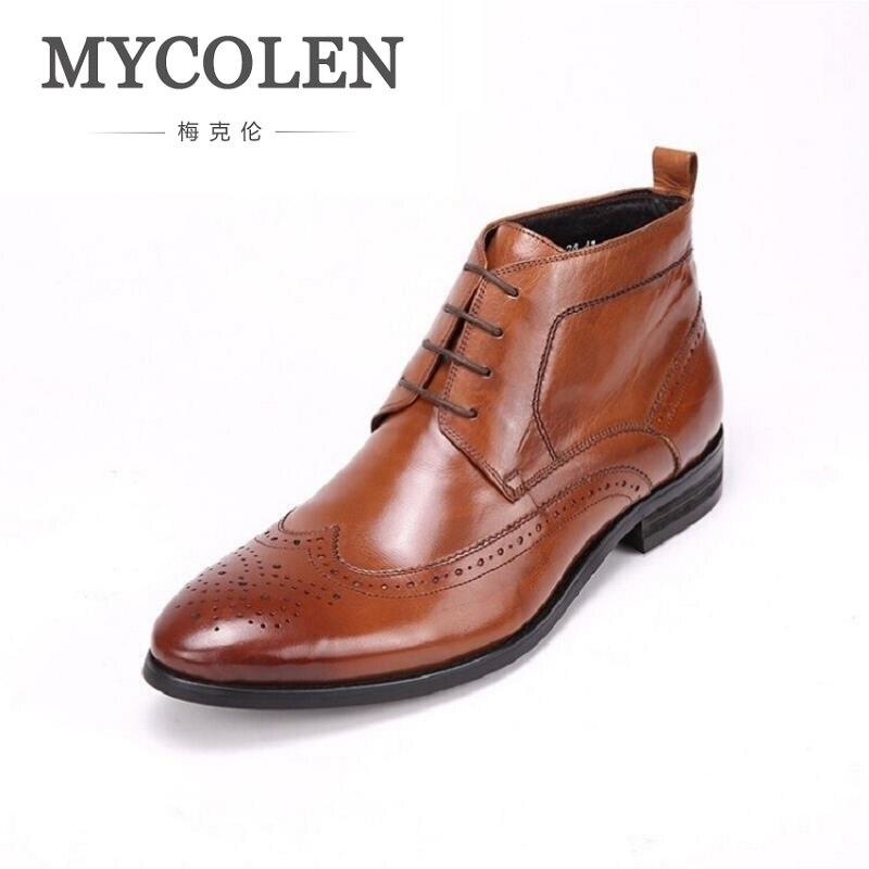 MYCOLEN Men Boots High Quality Ankle Boots Casual Autumn Genuine Leather Boots Men Business Flat Shoes Botas Tacticas Militares