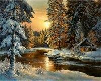 Diy Diamond Painting Cross Stitch Winter Landscape Round Crystal Diamond Mosaic Painting 3d Picture Diamond Embroidery