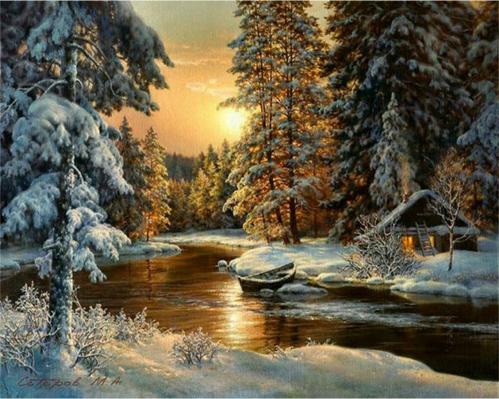DIY Diamant Peinture Point De Croix d'hiver coucher du soleil paysage ronde strass mosaïque Image 5D diamant broderie neige arbre icône