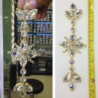 Sewing On Crystal Stones Gold Base Clear Rhinestone Applique For Wedding Dress Decorative