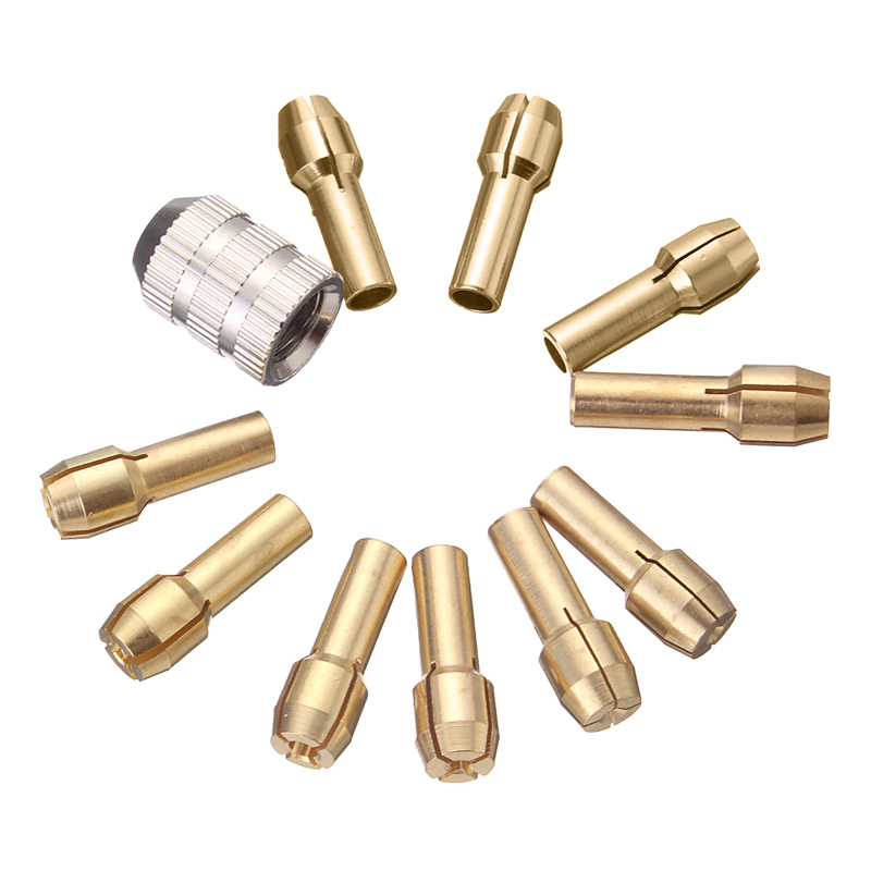Doersupp 10Pcs / set Brass Drill Chucks Collet Bitts 0.5-3.2mm 4.3mm shank with nut screw for Dremel Rotary Tool با کیفیت بالا