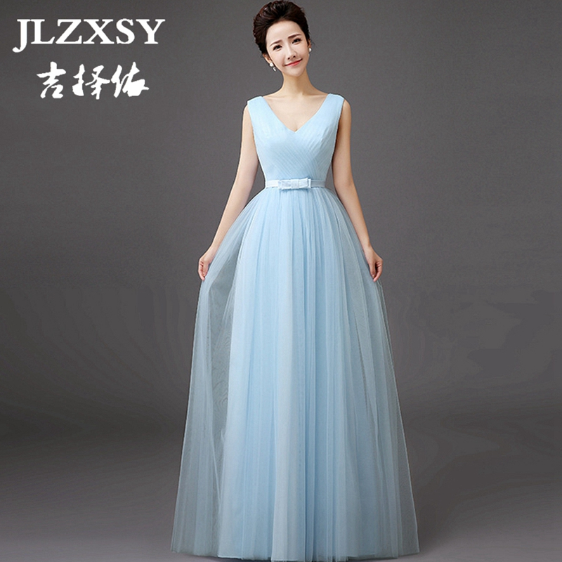 Cheap Elegant Wedding Dresses: JLZXSY New Sky Blue Elegant Cheap Long Maxi Dress Wedding