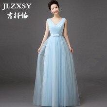 9c4d9b7f5c JLZXSY nuevo azul cielo elegante barato largo Maxi vestido de boda de dama  de honor 2017 plisado Swing Formal vestido de fiesta .