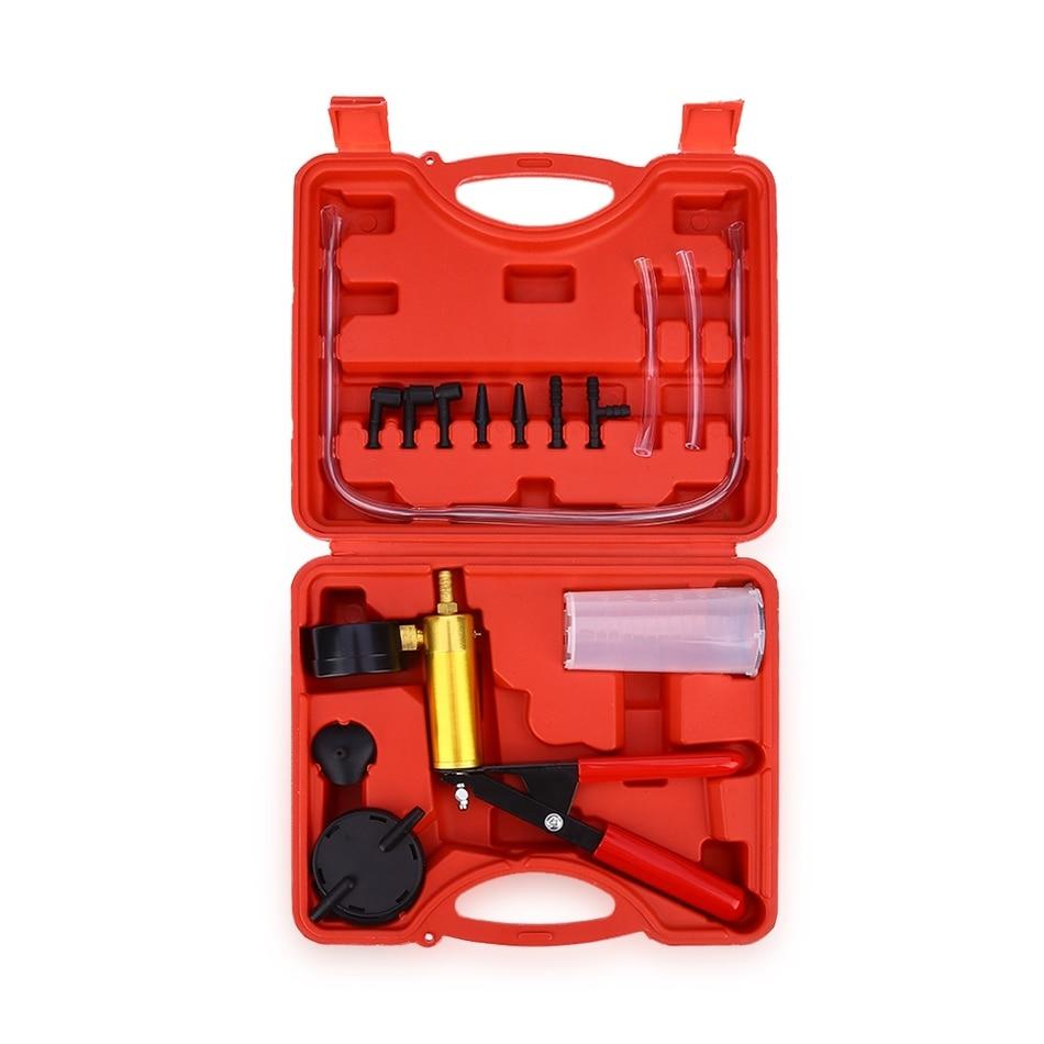 High Quality 15pcs Car Auto Hand Held Vacuum Pistol Pump Brake Bleeder Adaptor Fluid Reservoir Tester Kit 2 in 1 Tool Kits high quality pump cb 1 2