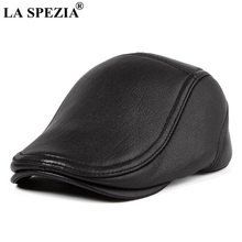LA SPEZIA Real Leather Falt Caps For Men Black Vintage Beret Hat Male Genuine Sheepskin High Quality Duckbill Driver